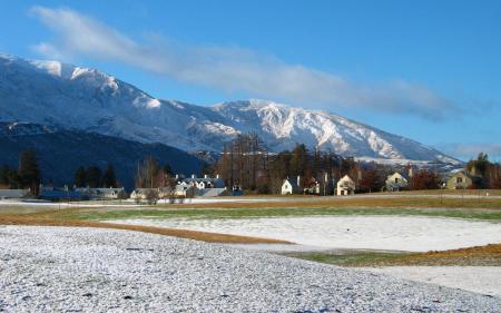 Заставки зима, winter, посёлок, горы