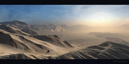 Обои долина, пустыня, песок, небо