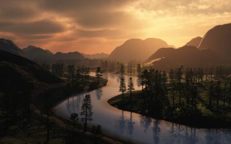 Фотографии деревья, река, дорога, горы