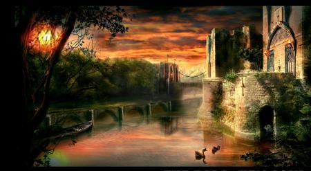 Заставки замок, мост, закат, озеро