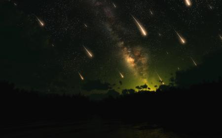 Картинки ночь, звездопад, cg
