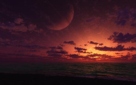 Обои море, закат, планета, cg