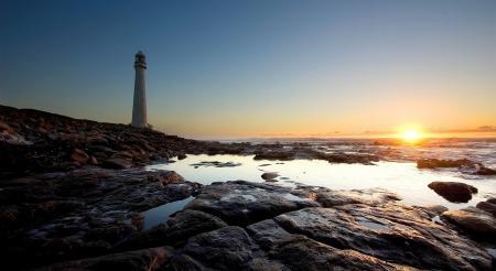 Фотографии маяк, закат, горизонт, камни