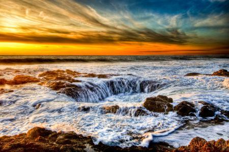 Картинки море, яма, потоки, небо