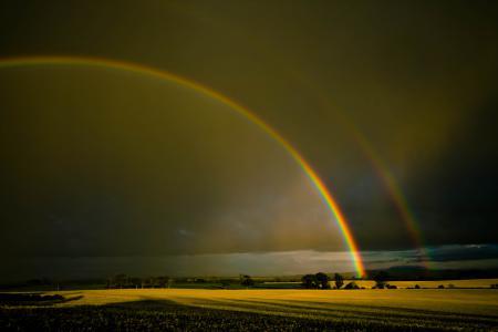 Обои радуга, поля, небо