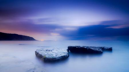 Картинки море, камни, закат