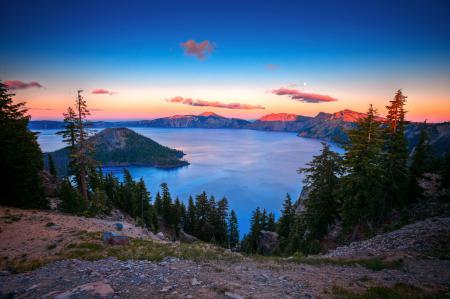 Заставки озеро, кратор, горы, луна