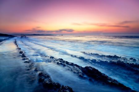 Картинки закат, камни, море