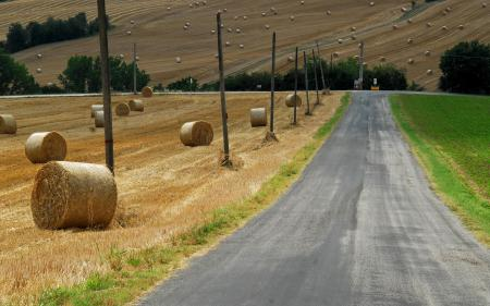Обои дорога, сено, поле, лето
