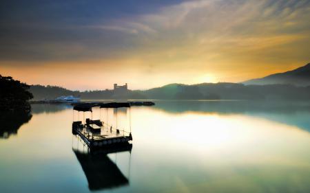 Фотографии озеро, небо, природа, корабль