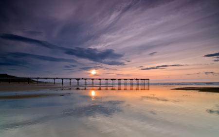 Заставки море, закат, мост, пейзаж