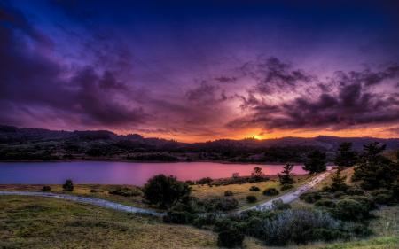 Фото закат, река, дорога, пейзаж