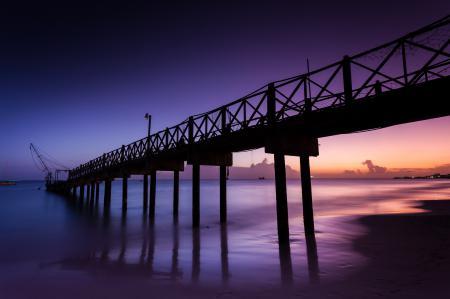Обои пирс, пляж, океан, закат