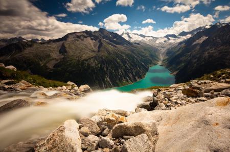 Фото горы, река, Альпы, пейзаж