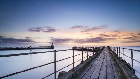 Фотографии море, закат, мост, порт