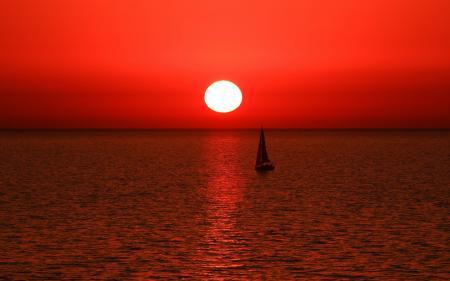 Картинки море, лодка, парус, закат