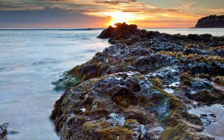 Картинки море, закат, скалы, пейзаж