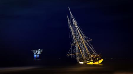 Заставки море, корабль, ночь, пейзаж