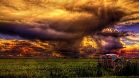 Фотографии поле, небо, тучи, пейзаж