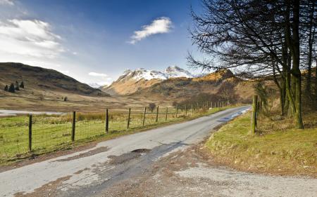 Заставки дорога, поле, забор, деревья