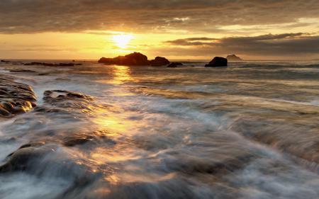 Обои море, небо, закат, природа