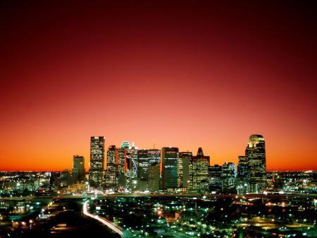 Обои вечер, закат, город, Dallas