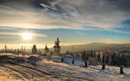 Картинки зима, лес, солнце, горы