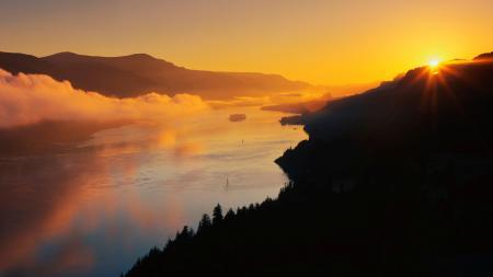 Фото природа, закат, солнце, горы