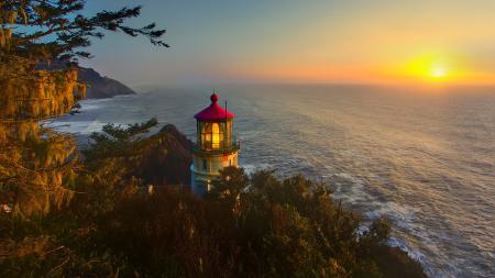 Фотографии пейзаж, природа, маяк, солнце