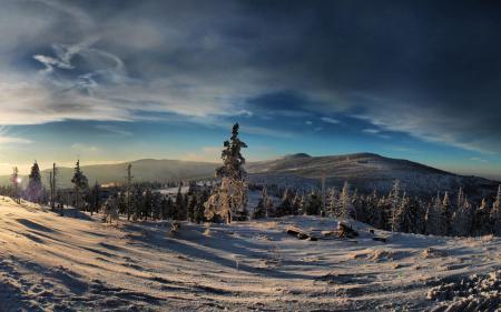 Фото зима, лес, горы, небо