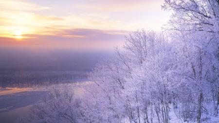 Обои пейзаж, природа, снег, закат