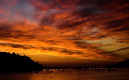 Картинки Sunset at Conwy, залив, бухта, яхты