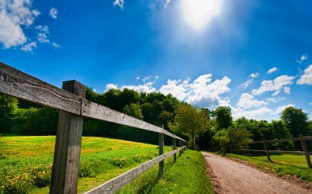 Обои лето, ограда, дорога