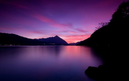 Заставки Lake Thun Sunset, небо, озеро