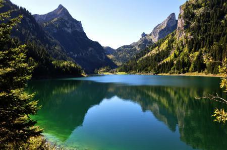 Фото горы, лес, небо, озеро