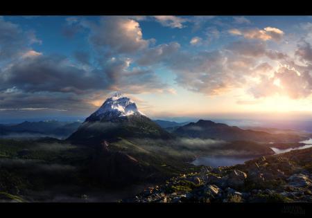 Заставки mountain morning, горы, утро, рендер
