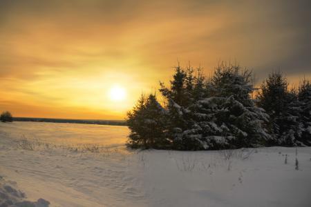 Фото зима, снег, небо, закат