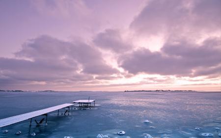 Обои закат, море, лёд