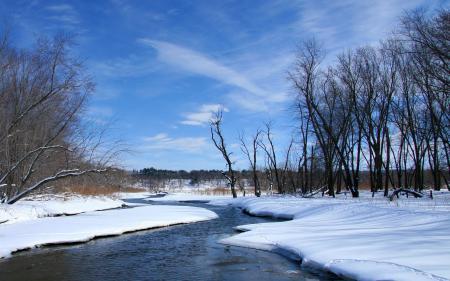 Фотографии весна, река, снег, природа