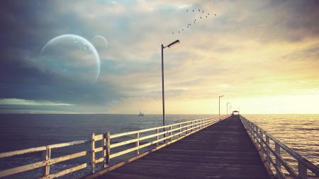 Картинки природа, пейзаж, мост, птицы