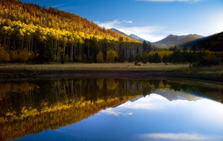 Картинки озеро, осень, лес, гора