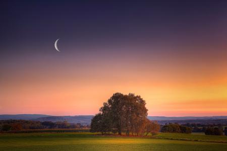 Картинки вечер, закат, луна, місяць