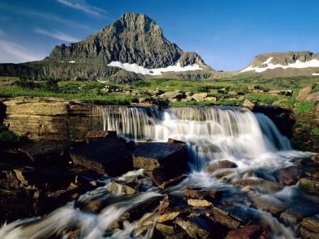 Заставки водопад, гора, трава, ручей