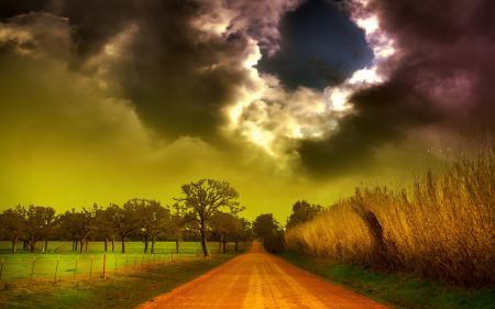 Картинки дорога, небо, тучи, природа