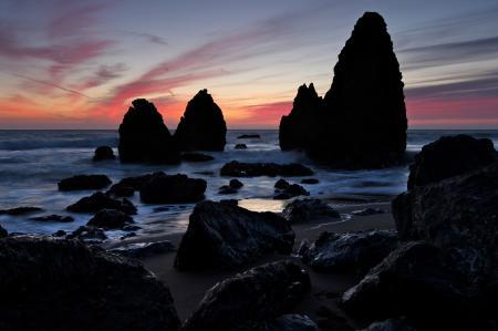 Картинки вечер, закат, море, скалы