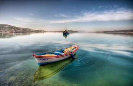 Заставки лодка, вода, залив, небо