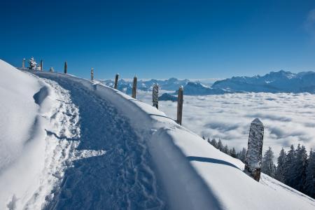 Заставки зима, дорога, горы, снег