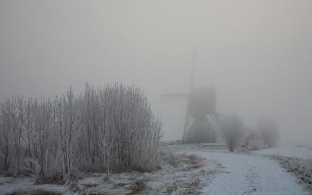 Картинки зима, дорога, мельница, туман