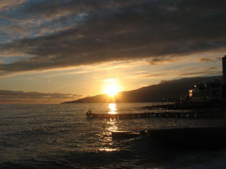 Фотографии Море, причал, закат, солнце