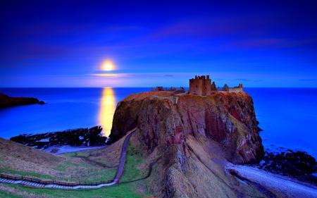 Картинки закат, небо, море, скалы